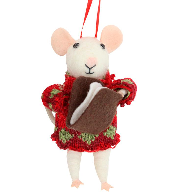 Woolly Christmas Mouse Decoration