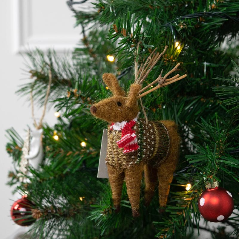 Woolly Christmas Reindeer Decoration