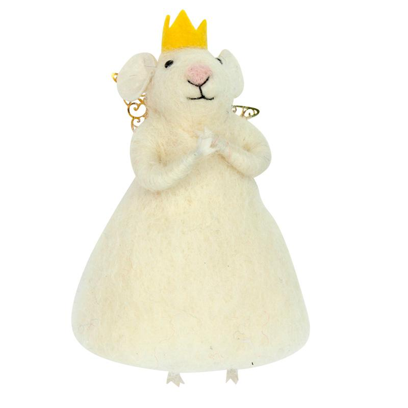 White Princess Christmas Mouse Decoration