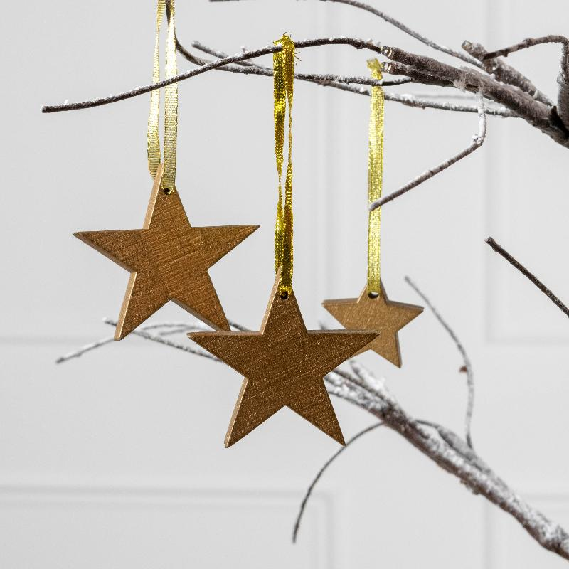 Gold Wood Christmas Star Decorations (x14)