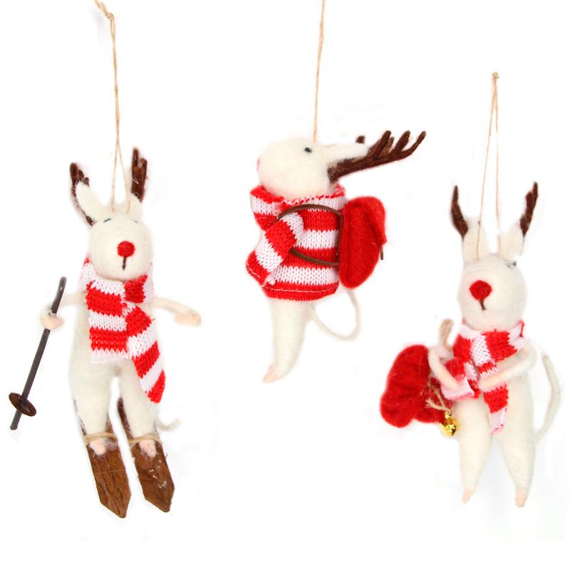 Stripy Jumper Christmas Reindeer Decoration