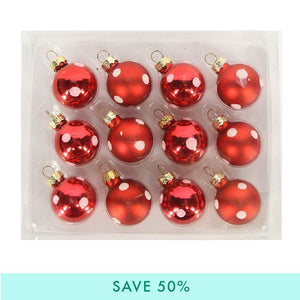 Red Polka Dot Christmas Baubles (x12)