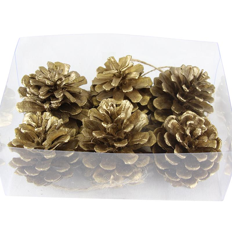 Gold Pine Cone Decorations (x6)