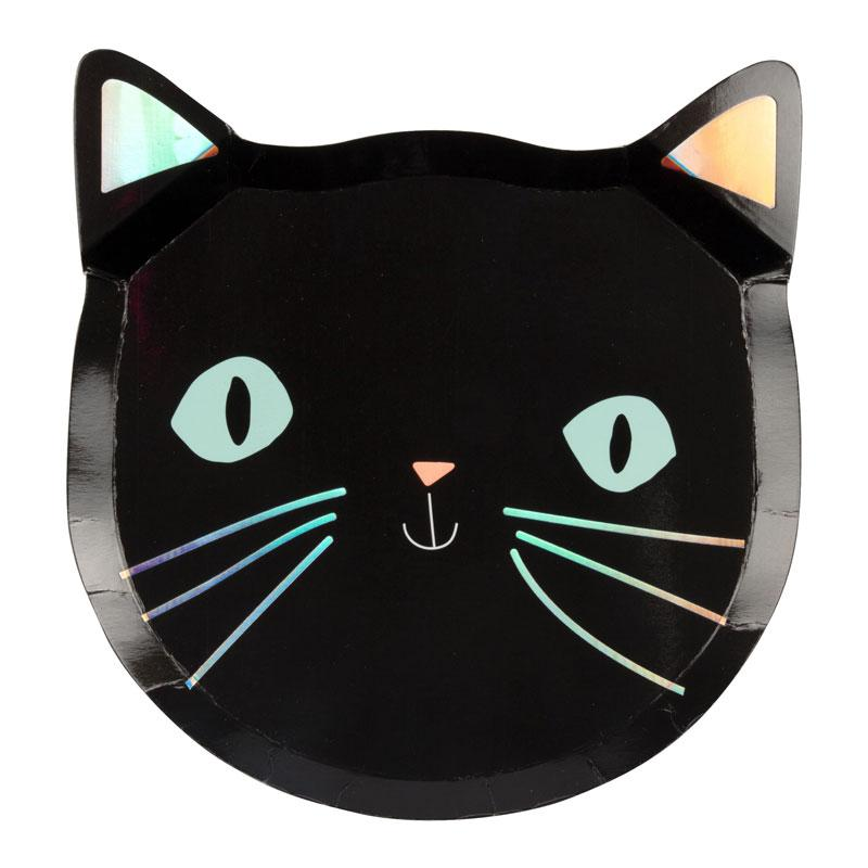 Black Cat Halloween Party Plates
