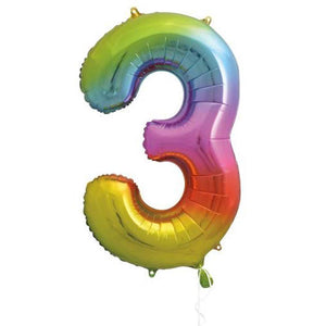 "Supershape Rainbow 34"" Helium Balloon Number 3"