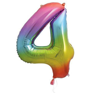 "Supershape Rainbow 34"" Helium Balloon Number 4"