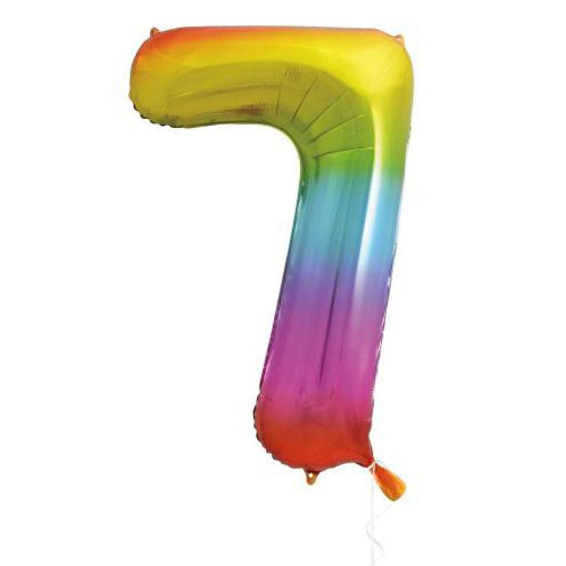 "Supershape Rainbow 34"" Helium Balloon Number 7"