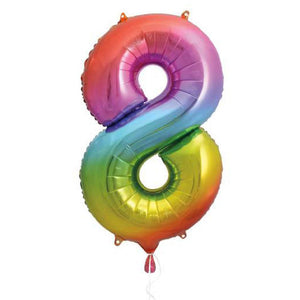 "Supershape Rainbow 34"" Helium Balloon Number 8"
