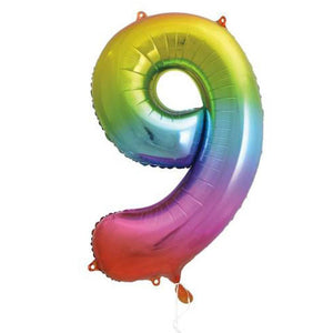 "Supershape Rainbow 34"" Helium Balloon Number 9"