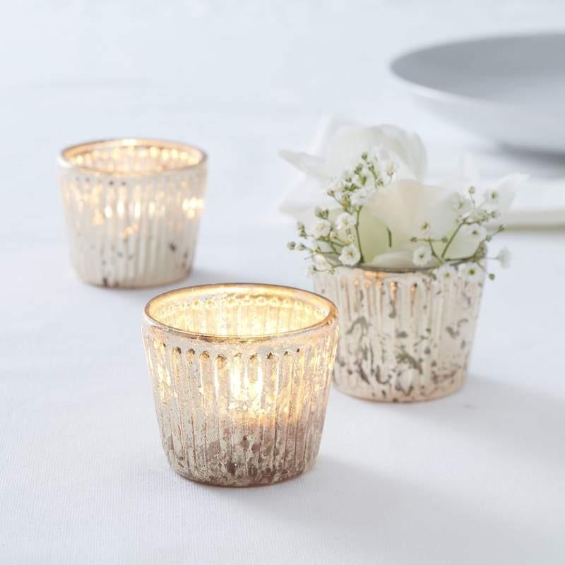 Gold Ribbed Glass Tea Light Holder