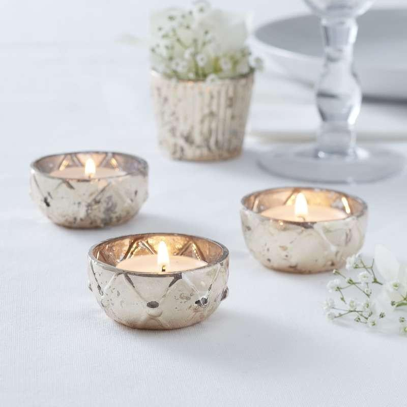 Gold Checked Glass Tea Light Holder
