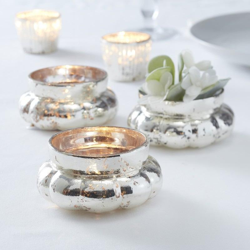 Large Silver Melon Shape Glass Tea Light Holder
