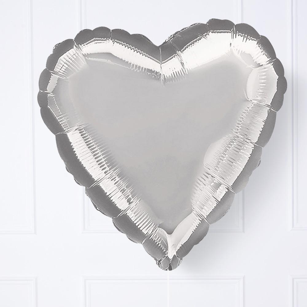 Silver Heart Helium Balloon