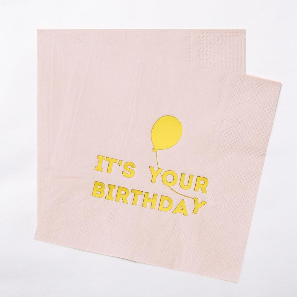 "2 pink birthday napkins with a glimmery gold ""It's Your Birthday"" greeting"