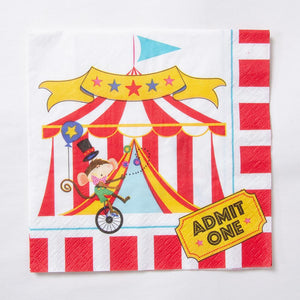 A circus-themed party napkin with red and white stripes and circus character