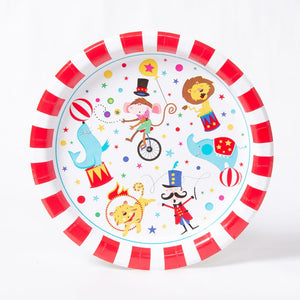 A circus-themed party plate with red and white stripes and circus cartoon characters