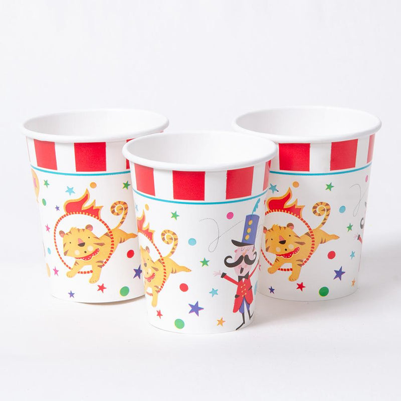 a set of 3 circus party cups with red and white design and cute characters