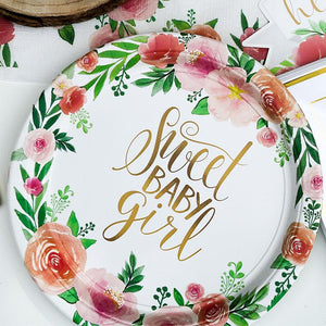 Floral Baby Girl Paper Party Plates - Large (x8)