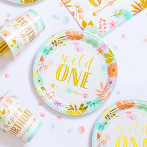 Boho Birthday Age One Paper Party Plates 18cm (x8)