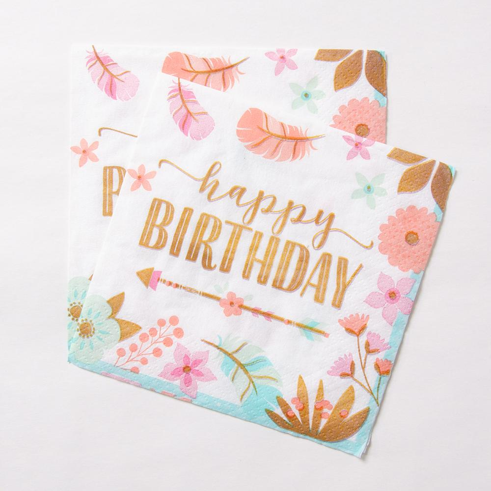 Boho Birthday 'Happy Birthday' Party Luncheon Napkins (x16)