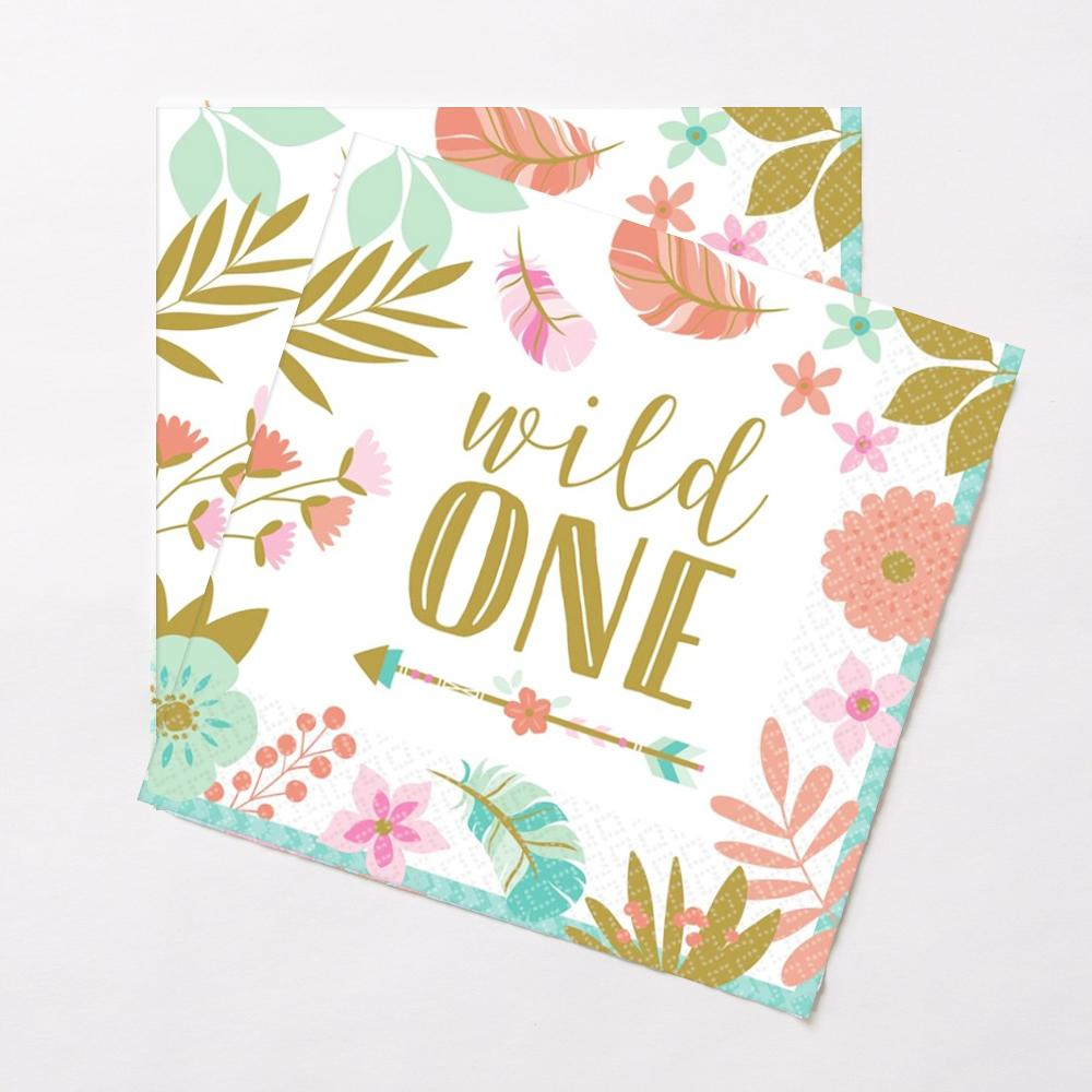 "2 1st birthday party napkins with a floral design and a ""Wild One"" phrase in gold lettering"