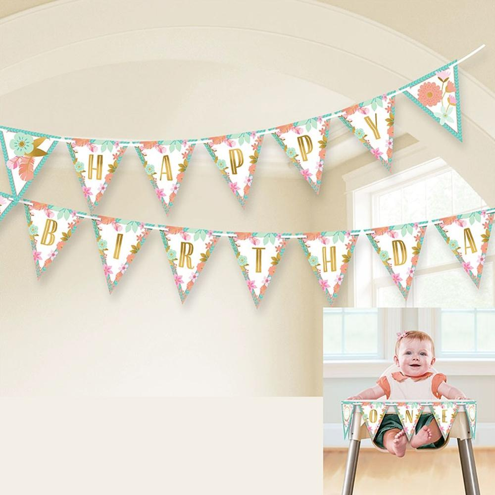 A boho-styled birthday pennant banner with a Happy Birthday greeting