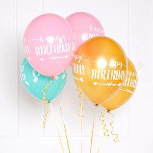 "A bunch of latex party balloons with a white printed ""Happy Birthday"" greeting"