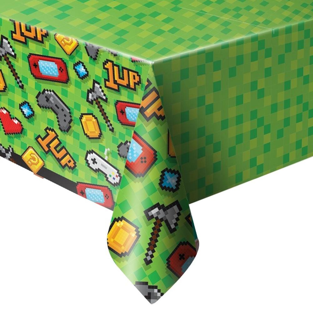 A gaming party tablecover with pixellated shapes and classic gaming icons