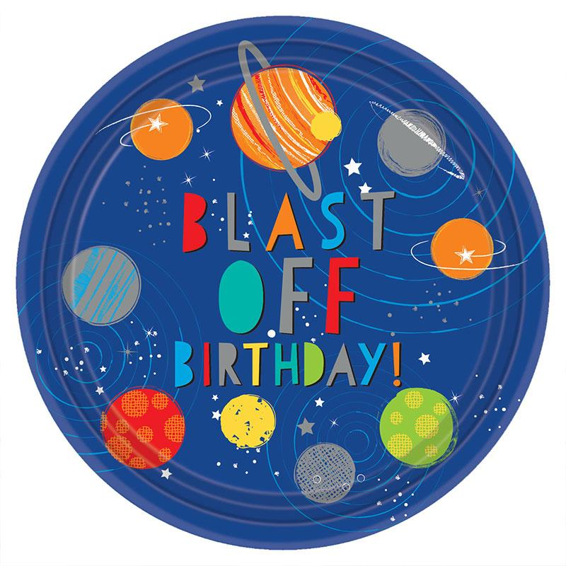 Blast Off Round Paper Party Plates (x8)