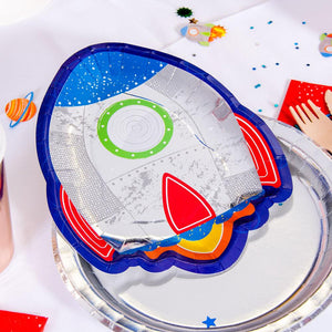 Blast Off! - Rocket-Shaped Party Plates (x8)