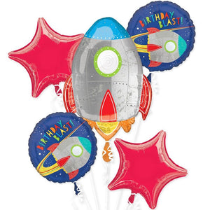 5 space-themed party balloons attached to balloon ribbons