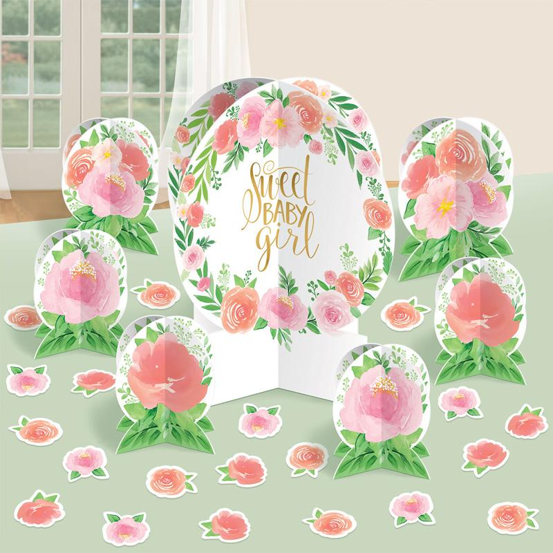 Floral Baby Girl Table Decorating Kit (x7)