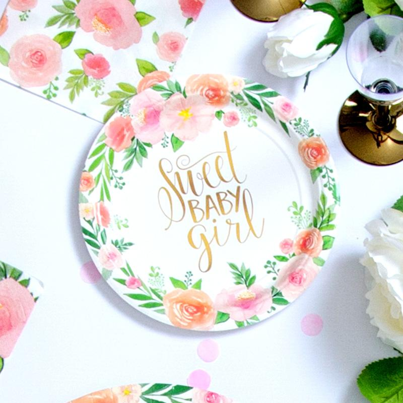 Floral Baby Girl Paper Party Plates 7in (x8)
