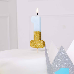 Gold Glitter Dipped Candle Blue - Age One
