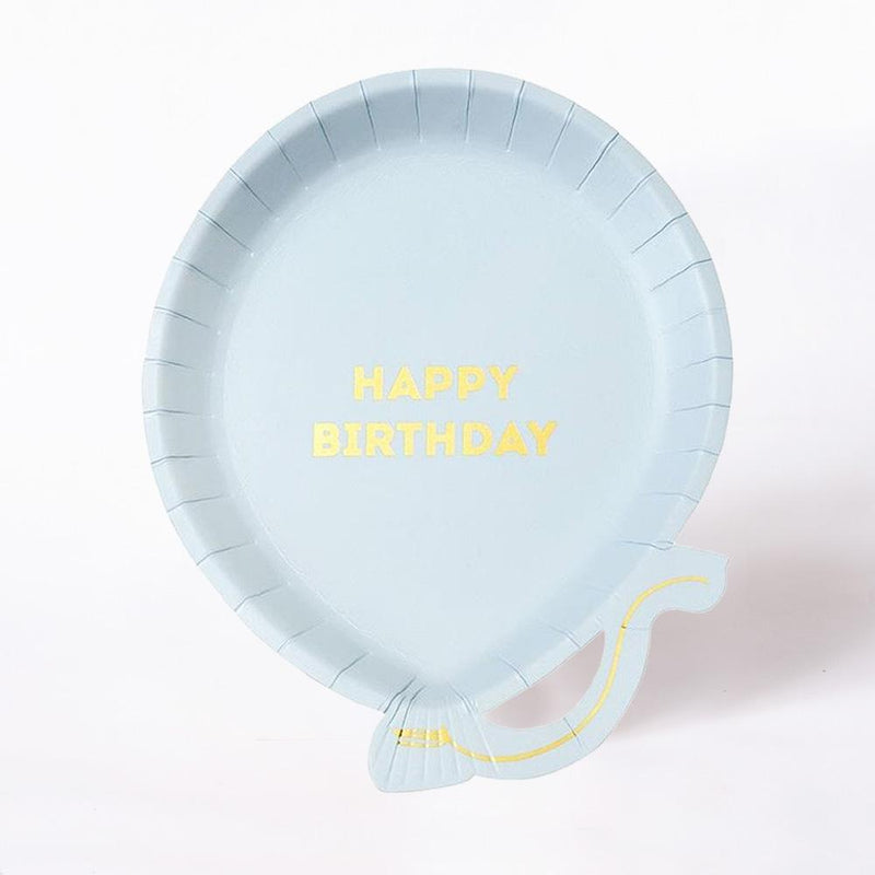 We Heart Birthday Pale Blue Paper Party Plates (x12)