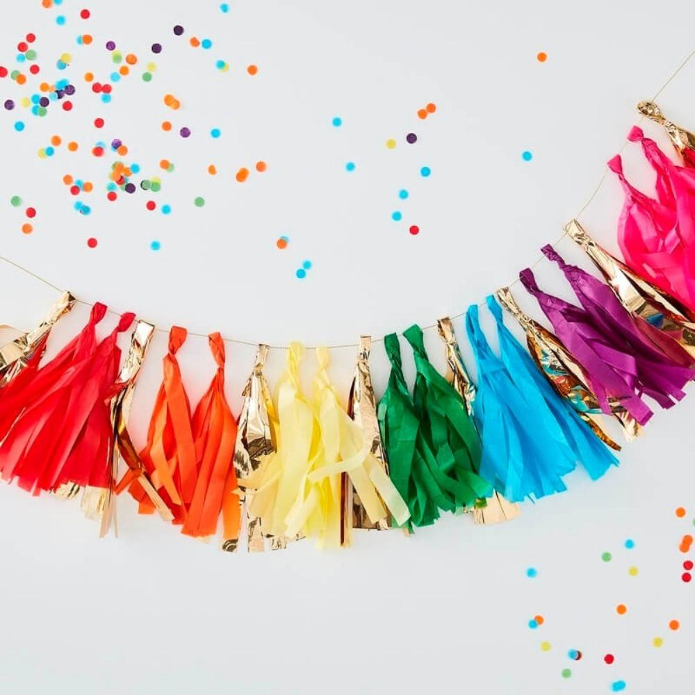 A party tassel garland with colours matching a rainbow