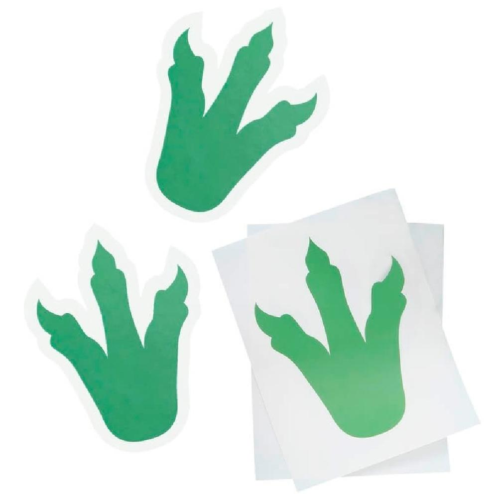 3 dinosaur-shaped foot print stickers