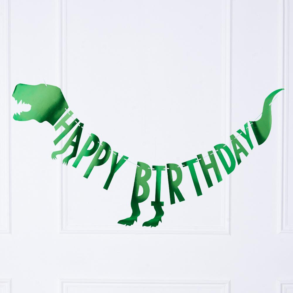 "A green foil T-Rex bunting with a ""Happy Birthday"" greeting"