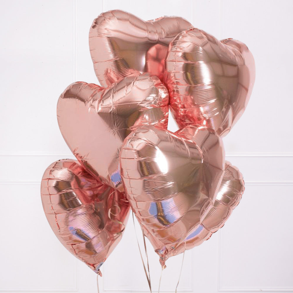 Rose Gold Heart Balloon Kit (Includes: Helium, Weight and Ribbon!)