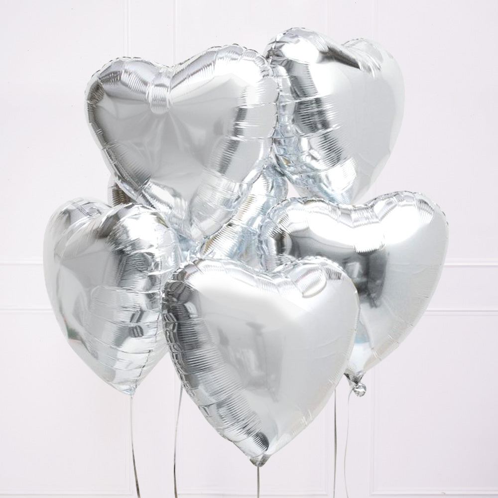 Silver Heart Balloon Kit (Includes: Helium, Weight and Ribbon!)