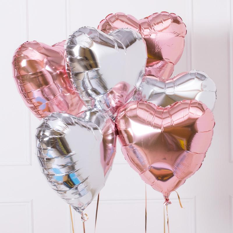 Silver and Rose Gold Heart Balloon Kit (Includes: Helium, Weight and Ribbon!)