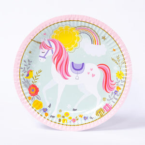 A round unicorn-themed party plate with a ribbed edge