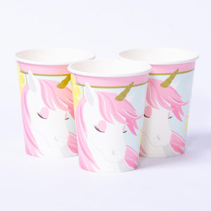A set of 3 unicorn-themed pink party cups