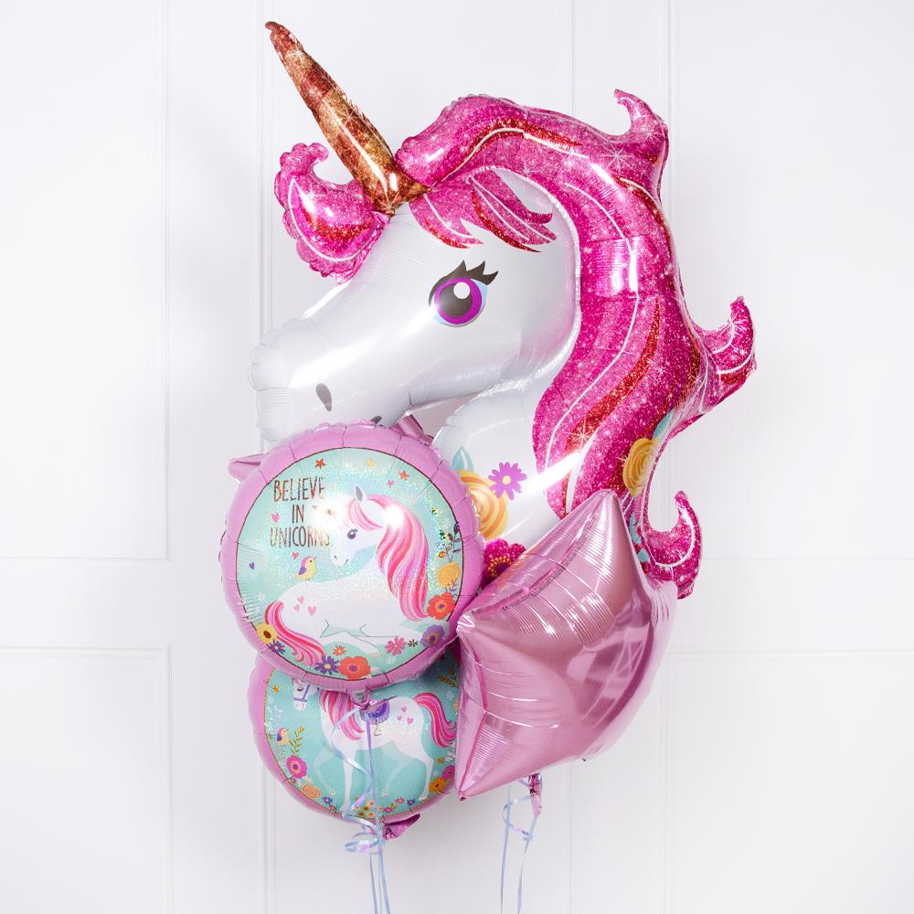 A collection of unicorn-themed helium balloons