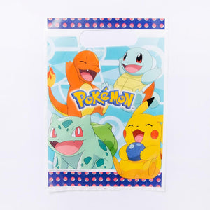 A party gift bag featuring a pokemon cartoon design