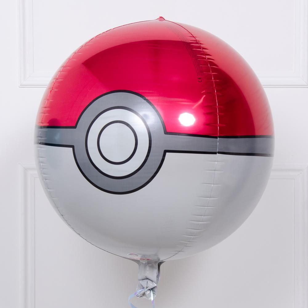 A spherical party balloon in the shape of a poke-ball