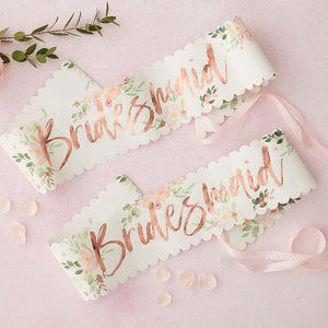 Floral Hen Party - Bridesmaids Sashes (x2)
