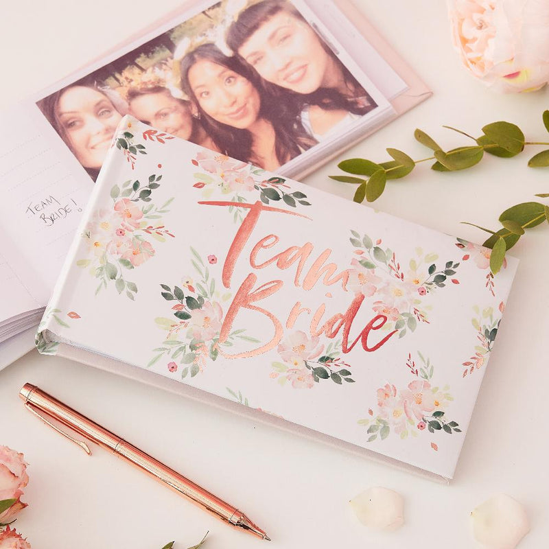 "Hen party photobook with shiny rose gold ""Team Bride"" phrase"