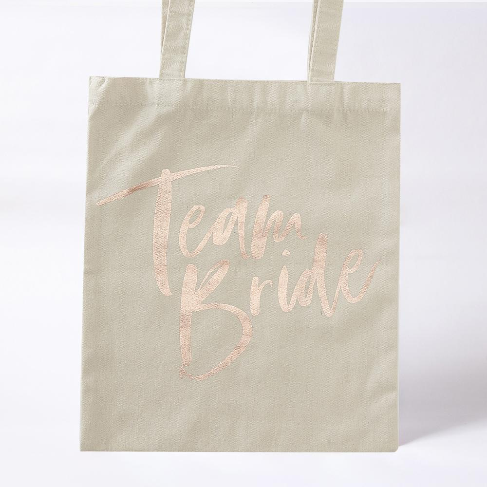 "Hen party tote bag with ""Team Bride"" written in shiny foil writing"