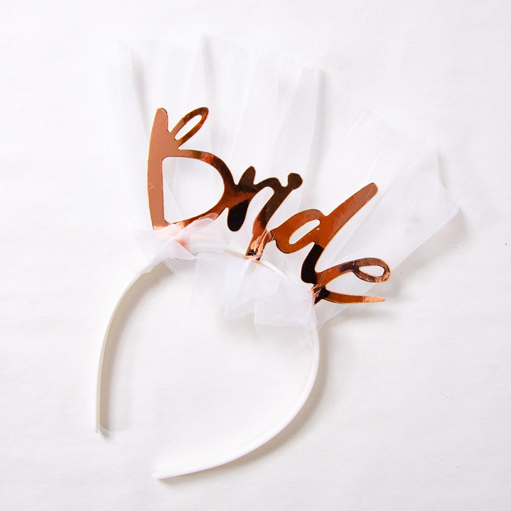 "Hen party hairband with ""Bride"" written in rose gold writing"